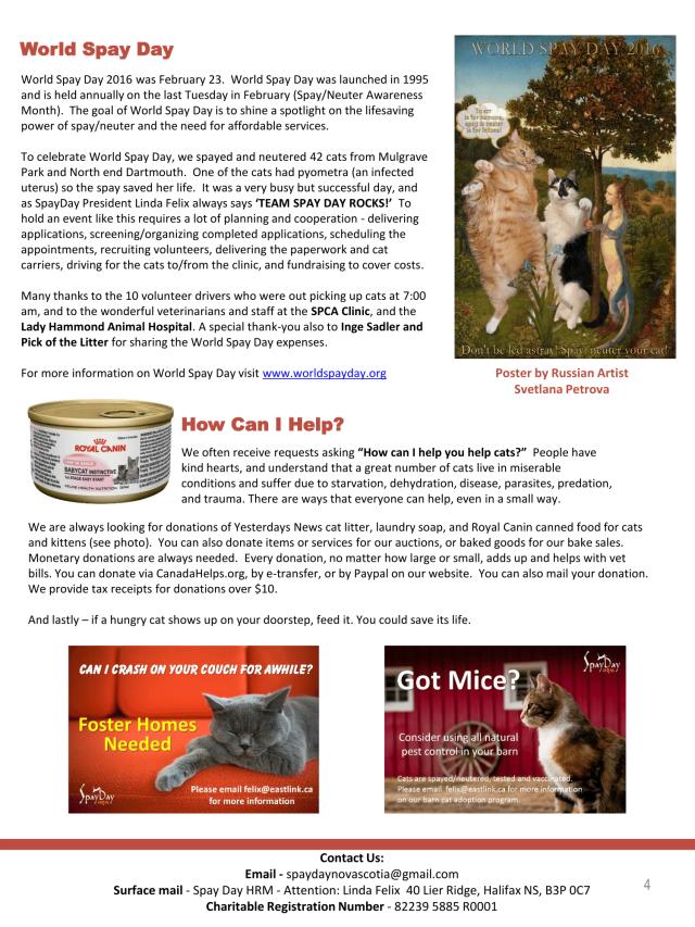 SpayDay Newsletter Spring 2016 2-4